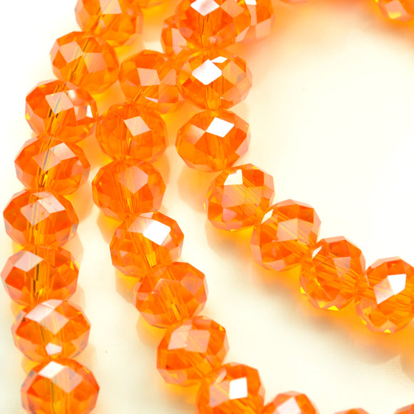 STAR BEADS: FACETED RONDELLE GLASS BEADS - LIGHT ORANGE LUSTRE - Rondelle Beads