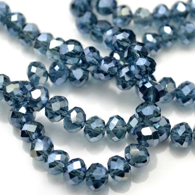 STAR BEADS: FACETED RONDELLE GLASS BEADS - MONTANA LUSTRE - Rondelle Beads