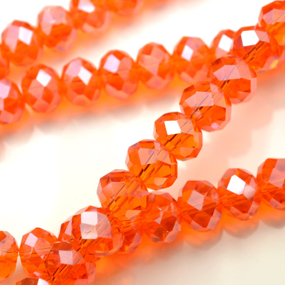 STAR BEADS: FACETED RONDELLE GLASS BEADS - ORANGE LUSTRE - Rondelle Beads