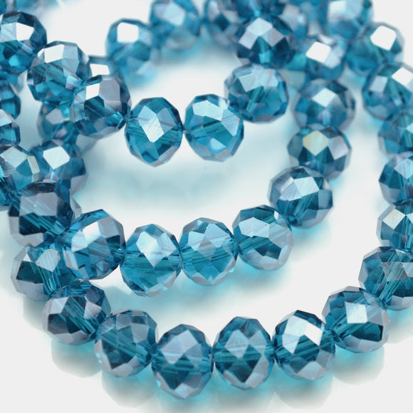 STAR BEADS: FACETED RONDELLE GLASS BEADS - TURQUOISE LUSTRE - Rondelle Beads
