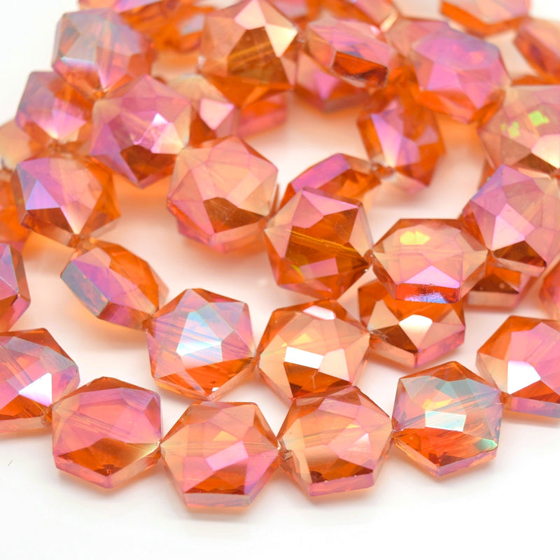 STAR BEADS: 10 x Hexagon Faceted Glass Beads 15x15x7mm - Orange AB - Hexagon Beads