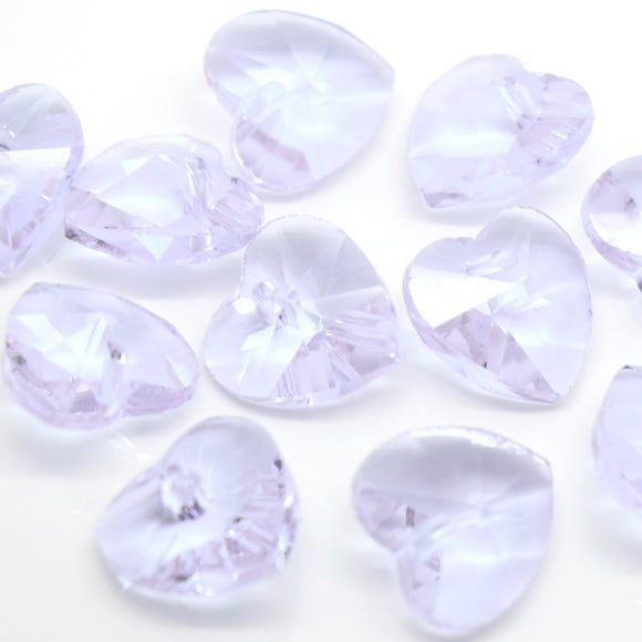 STAR BEADS: 10 X FACETED GLASS HEART PENDANTS 14MM - LILAC - Pendants