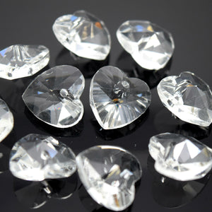 STAR BEADS: 10 x Faceted Glass Heart Pendants 14mm - Clear - Pendants