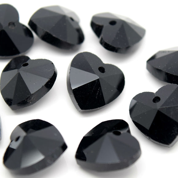 STAR BEADS: 10 x Faceted Glass Heart Pendants 14mm - Jet - Pendants