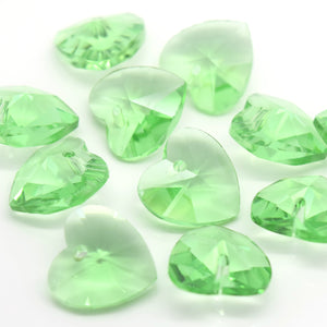 STAR BEADS: 10 x Faceted Glass Heart Pendants 14mm - Peridot - Pendants