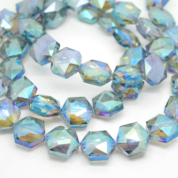 STAR BEADS: 10 x Hexagon Faceted Glass Beads 15x15x7mm - Grey / Green AB - Hexagon Beads