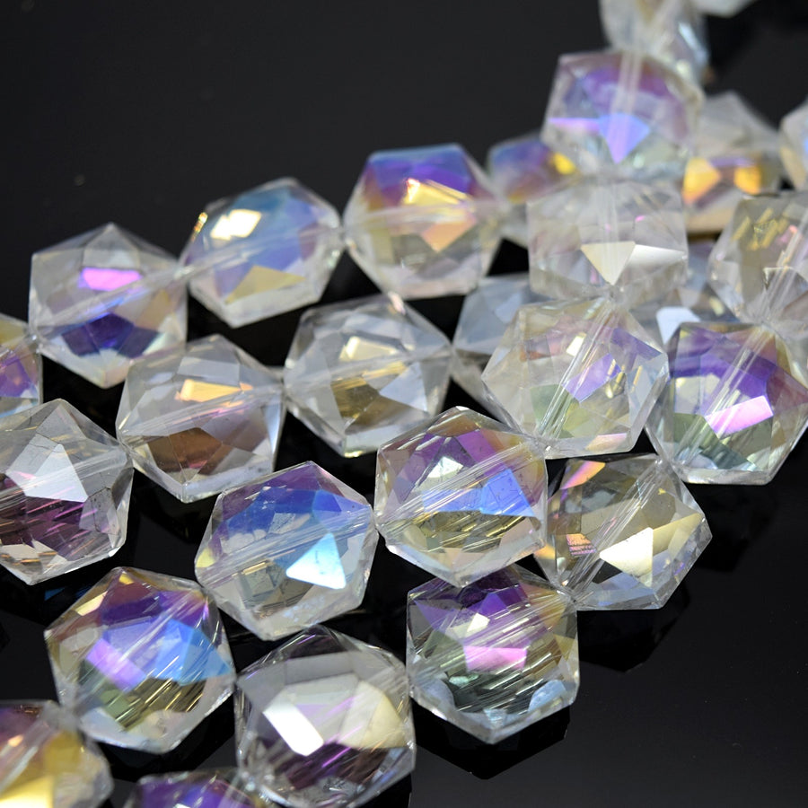 STAR BEADS: 10 x Hexgon Faceted Glass Beads 20x20x6mm - Clear AB - Hexagon Beads