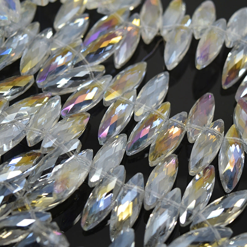 STAR BEADS: 25 x Horse Eye (Top Hole) Faceted Glass Beads 22x7x6mm - Clear AB - Horse Eye Beads