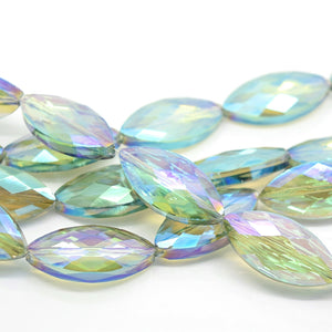 STAR BEADS: 5 x Horse Eye Faceted Glass Beads 25x7x8mm - Green AB - Horse Eye Beads