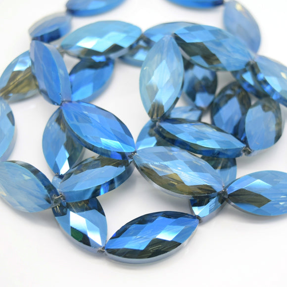 STAR BEADS: 5 x Horse Eye Faceted Glass Beads 25x7x8mm - Grey / Metallic Blue - Horse Eye Beads