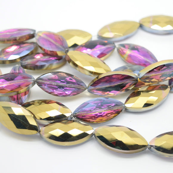 STAR BEADS: 5 x Horse Eye Faceted Glass Beads 25x7x8mm - Violet / Metallic Gold - Horse Eye Beads