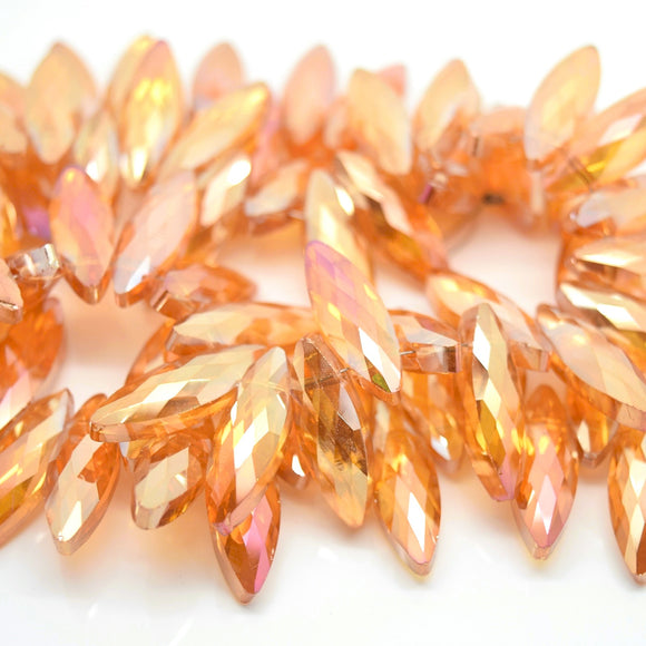 STAR BEADS: 25 x Horse Eye (Top Hole) Faceted Glass Beads 22x7x6mm - Orange AB - Horse Eye Beads
