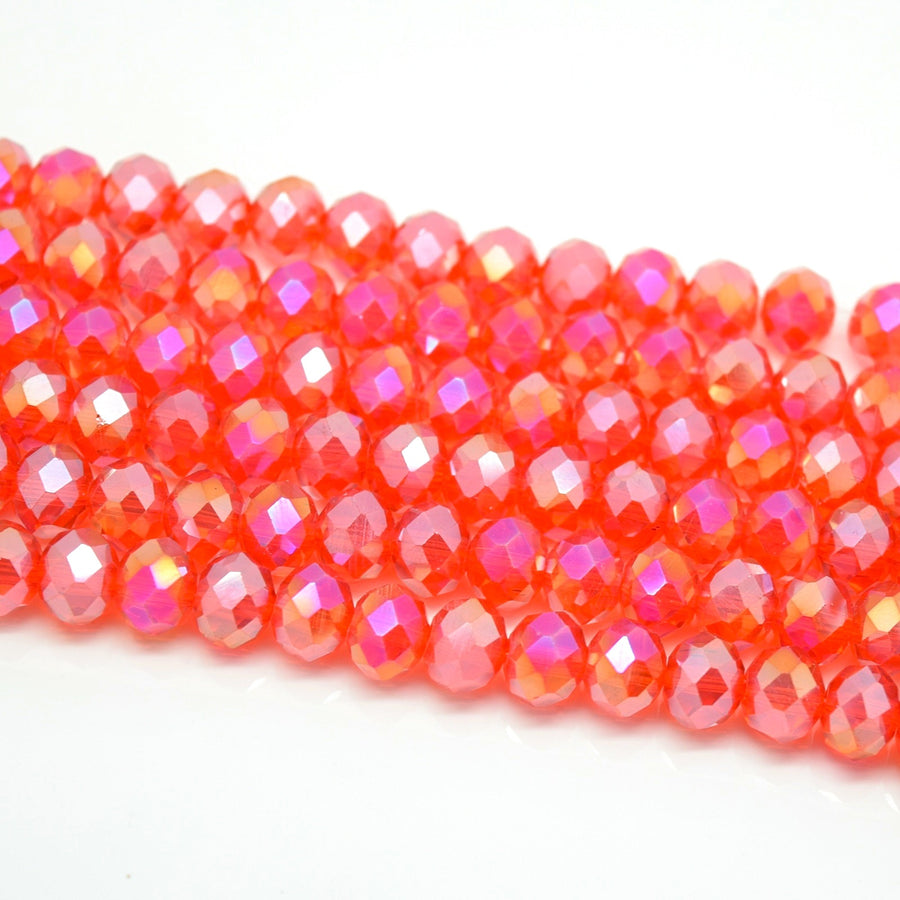 Faceted Rondelle Glass Beads - Light Siam AB