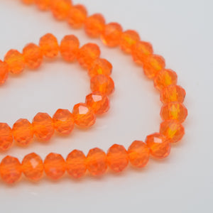 STAR BEADS: FACETED RONDELLE GLASS BEADS - LIGHT ORANGE - Rondelle Beads