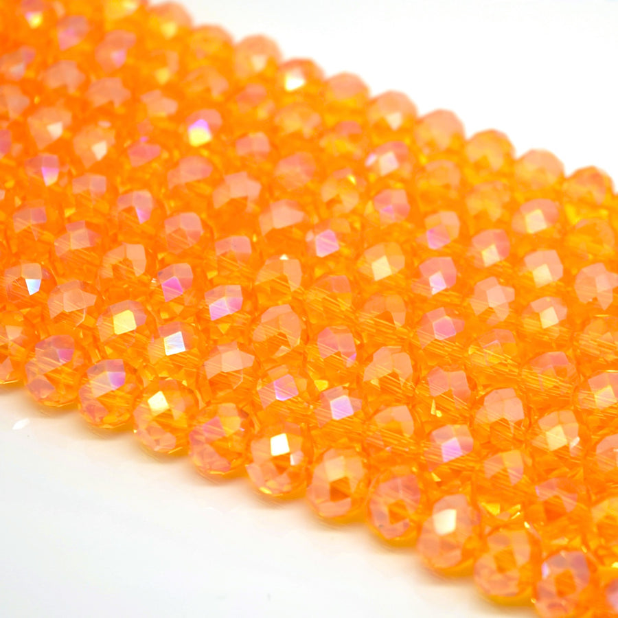 Faceted Rondelle Glass Beads - Light Orange AB