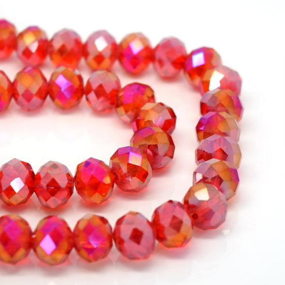 STAR BEADS: 70 x Faceted Rondelle Glass Beads 10mm - Light Siam AB - Rondelle Beads