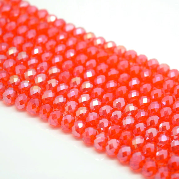 Faceted Rondelle Glass Beads - Light Siam Lustre