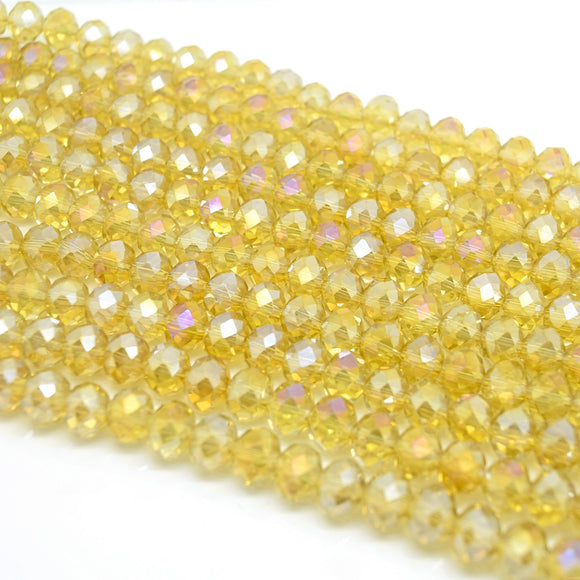 Faceted Rondelle Glass Beads - Light Topaz AB