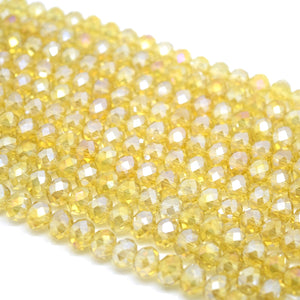 Faceted Rondelle Glass Beads - Light Topaz Lustre