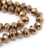 STAR BEADS: FACETED RONDELLE GLASS BEADS - METALLIC BRONZE - Rondelle Beads