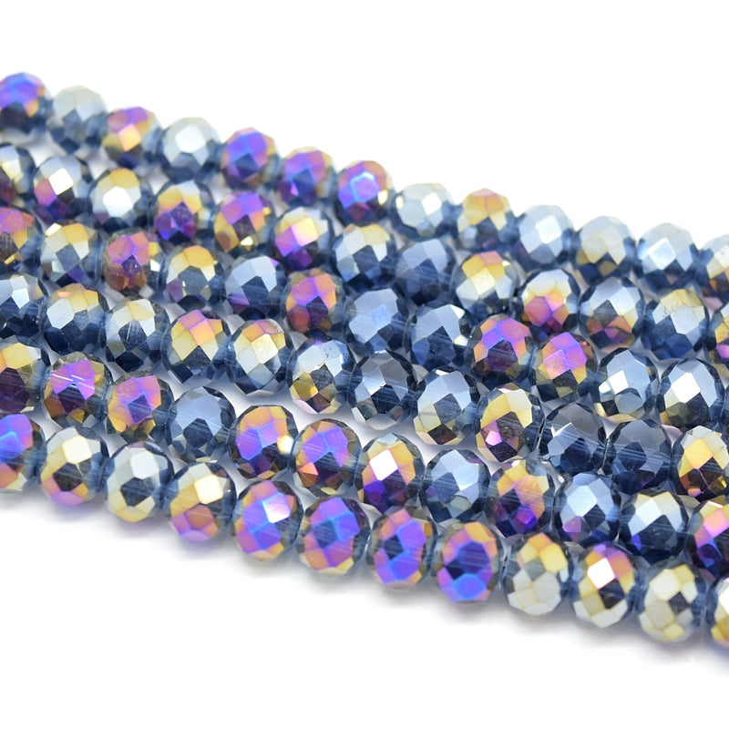 Faceted Rondelle Glass Beads - Montana AB