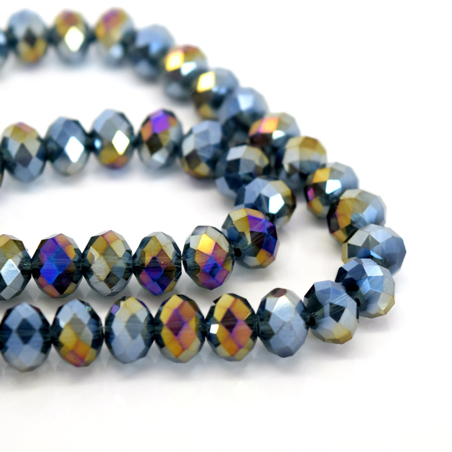 STAR BEADS: FACETED RONDELLE GLASS BEADS - MONTANA AB - Rondelle Beads