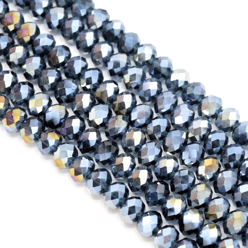 Faceted Rondelle Glass Beads - Montana Lustre