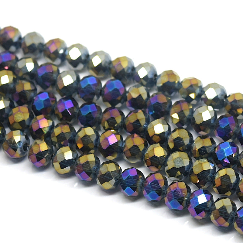 Faceted Rondelle Glass Beads - Montana / Metallic
