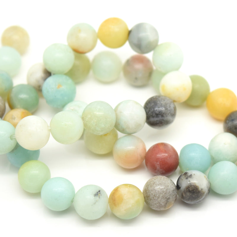 STAR BEADS: 48 x Round 8mm Strand Gemstone Beads - Natural Amazonite - Glass Gemstone Beads
