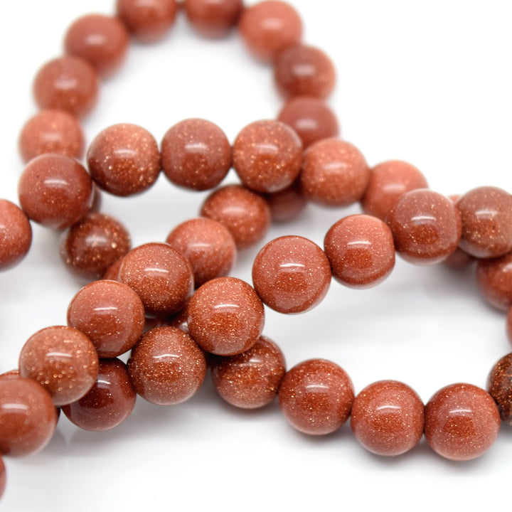 STAR BEADS: 48 x Round 8mm Strand Gemstone Beads - Natural Goldstone - Glass Gemstone Beads