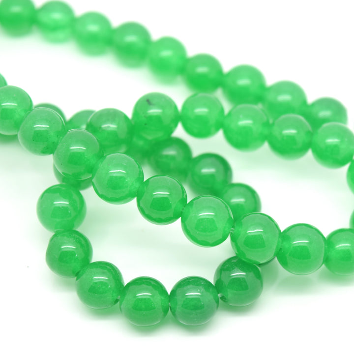 STAR BEADS: 48 x Round 8mm Strand Gemstone Beads - Natural Green Adventurine - Glass Gemstone Beads