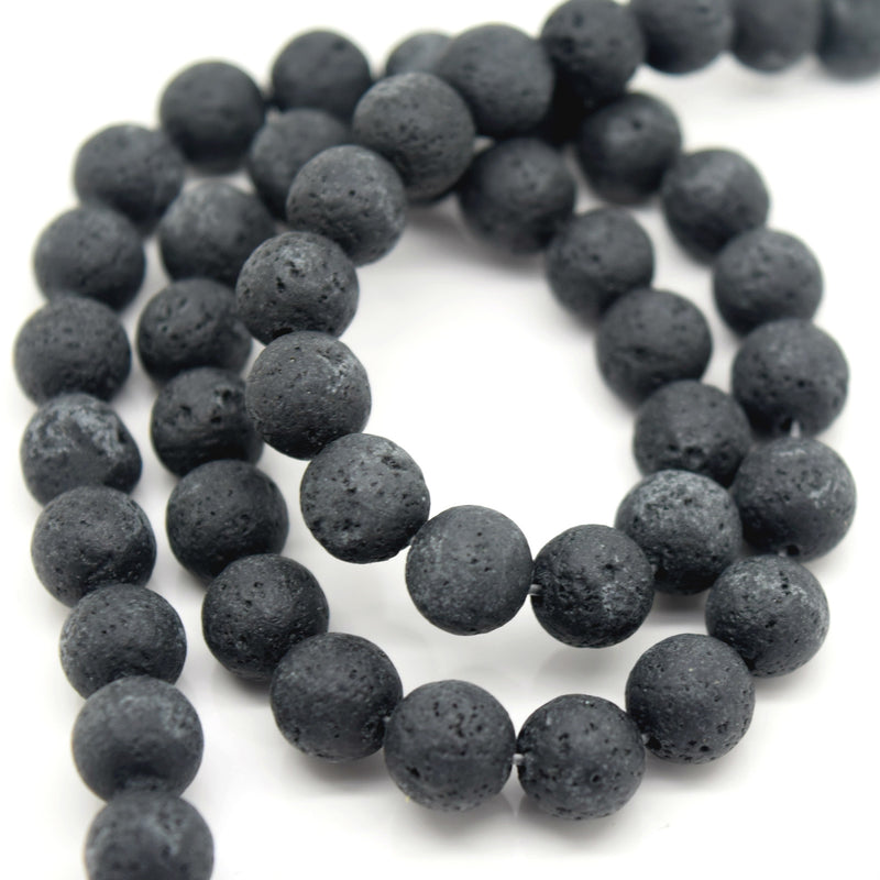 STAR BEADS: 48 x Round 8mm Strand Gemstone Beads - Natural Lava - Glass Gemstone Beads