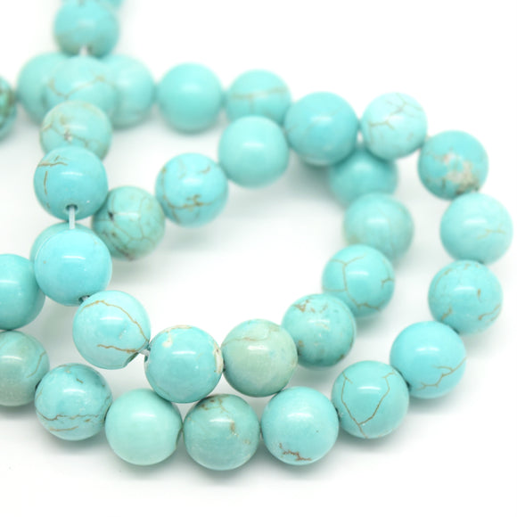 STAR BEADS: ROUND 8MM STRAND GEMSTONE BEADS - NATURAL TURQUOISE 48PCS - Glass Gemstone Beads