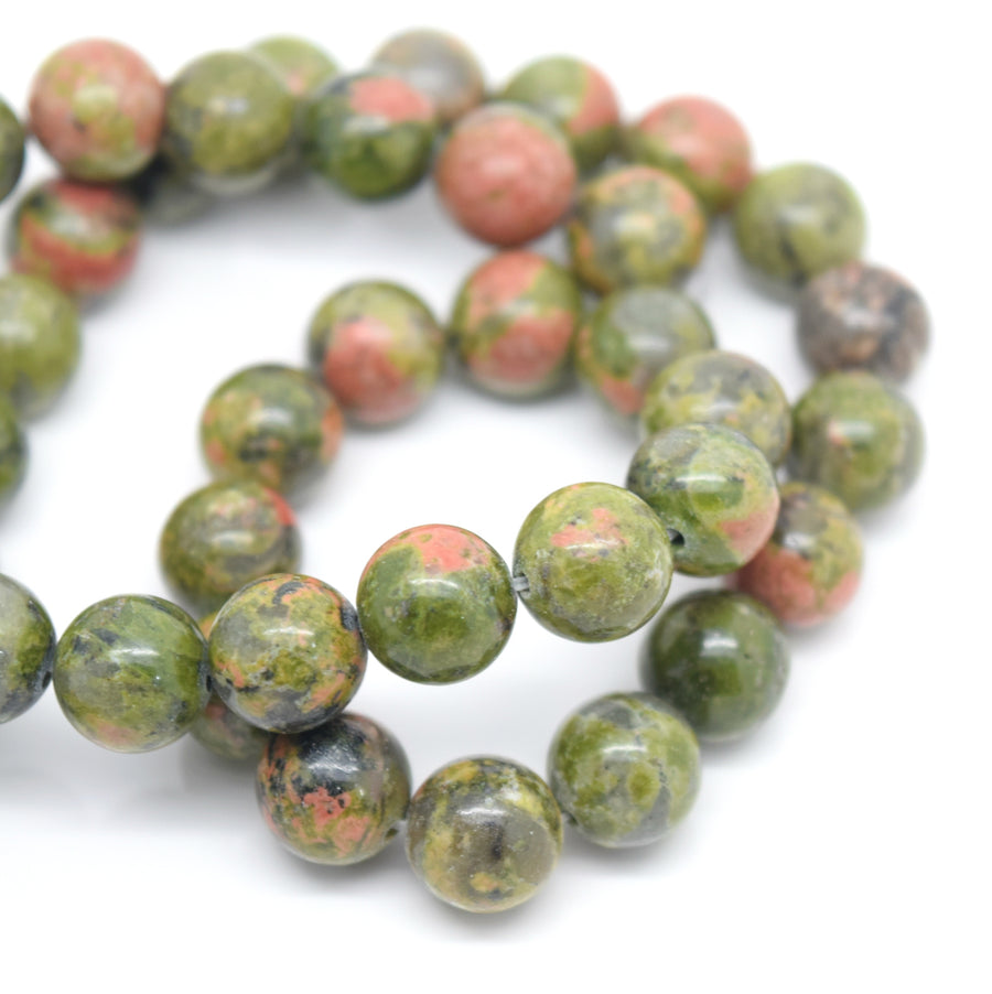 STAR BEADS: 48 x Round 8mm Strand Gemstone Beads - Natural Unakite - Glass Gemstone Beads