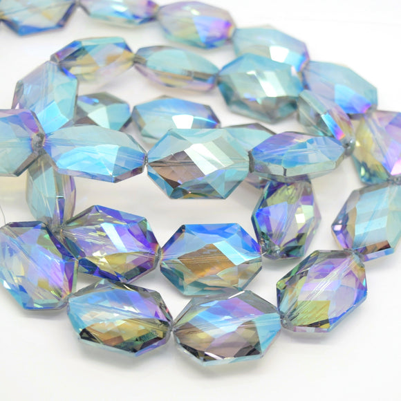 STAR BEADS: 5 x Octagon Faceted Glass Beads 25x17x10mm - Grey / Green AB - Octagon Beads