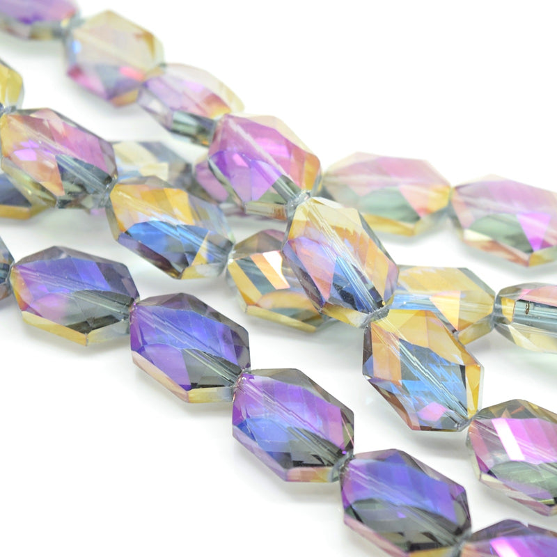 STAR BEADS: 5 x Octagon Faceted Glass Beads 18x12x9mm - Grey / Metallic Purple - Octagon Beads