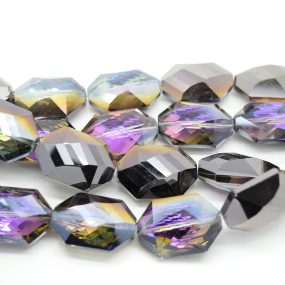 STAR BEADS: 5 x Octagon Faceted Glass Beads 25x17x10mm - Violet / Metallic Jet - Octagon Beads