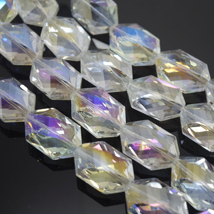 STAR BEADS: 5 x Octagon Faceted Glass Beads 25x17x10mm - Clear AB - Octagon Glass Beads