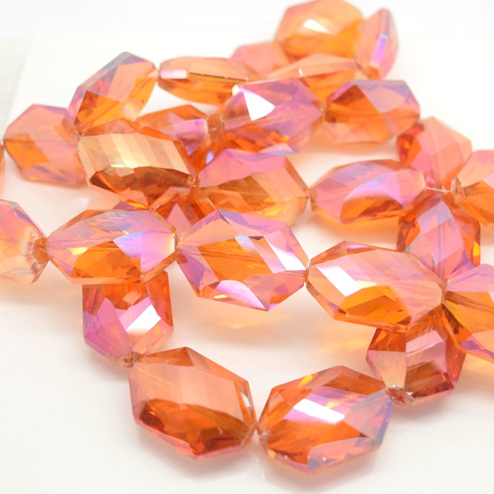 STAR BEADS: 5 x Octagon Faceted Glass Beads 25x17x10mm - Orange AB - Octagon Beads