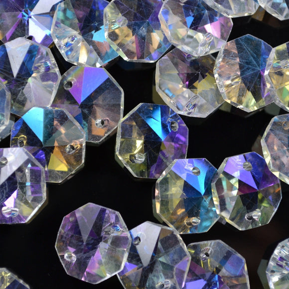 STAR BEADS: OCTAGON GLASS BEADS 14MM - CLEAR AB - Octagon Glass Beads