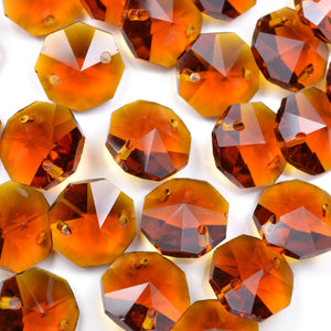 STAR BEADS: OCTAGON GLASS BEADS 14MM - AMBER - Octagon Glass Beads