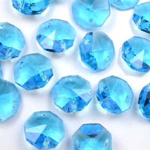 STAR BEADS: OCTAGON GLASS BEADS 14MM - AQUAMARINE - Octagon Glass Beads
