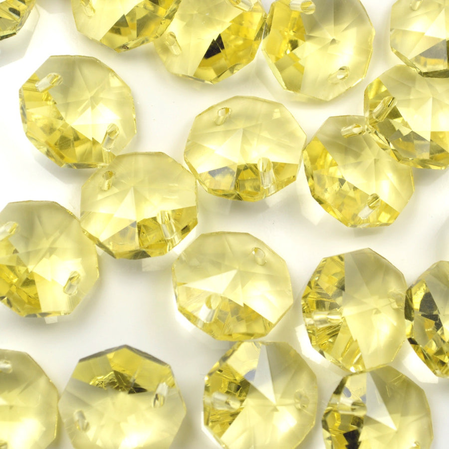 STAR BEADS: OCTAGON GLASS BEADS 14MM - JONQUIL - Octagon Glass Beads