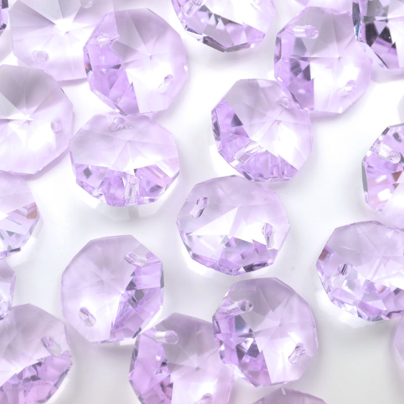 STAR BEADS: OCTAGON GLASS BEADS 14MM - LILAC - Octagon Glass Beads