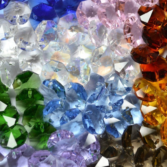 STAR BEADS: OCTAGON GLASS BEADS 14MM - MIXED COLOUR - Octagon Glass Beads