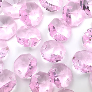 STAR BEADS: OCTAGON GLASS BEADS 14MM - PINK - Octagon Glass Beads