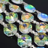 STAR BEADS: 1 Metre Octagon Glass Bead Chain 14mm Clear AB - Silver Bowtie - Octagon Glass Beads