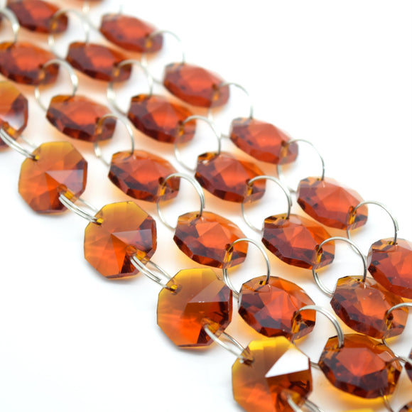 STAR BEADS: 1 Metre Octagon Glass Bead Chain 14mm Amber - Silver Rings - Octagon Glass Beads
