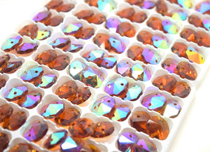 Octagon Glass Beads 14mm - Amber AB
