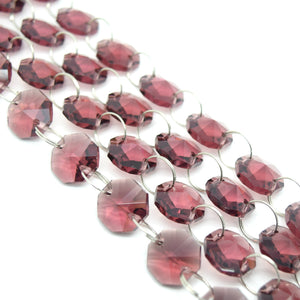 STAR BEADS: 1 Metre Octagon Glass Bead Chain 14mm Amethyst - Silver Rings - Octagon Glass Beads